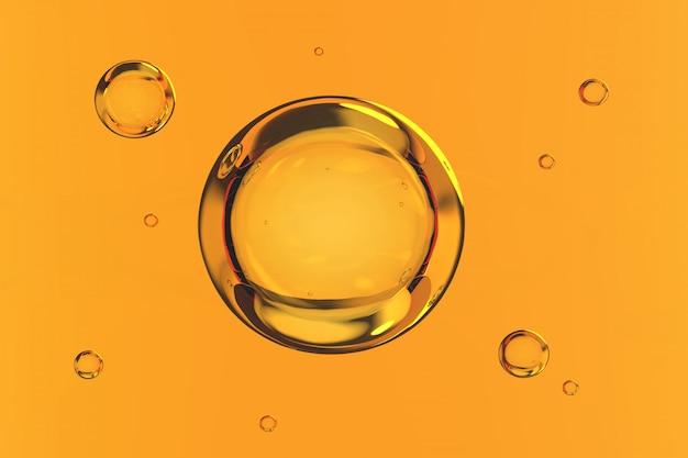 Bolhas de água no fundo amarelo 3d render Foto Premium