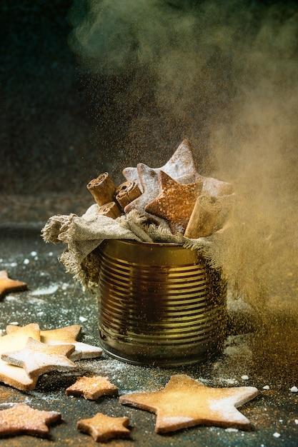 Bolinhos de açúcar de forma de estrela shortbread Foto Premium