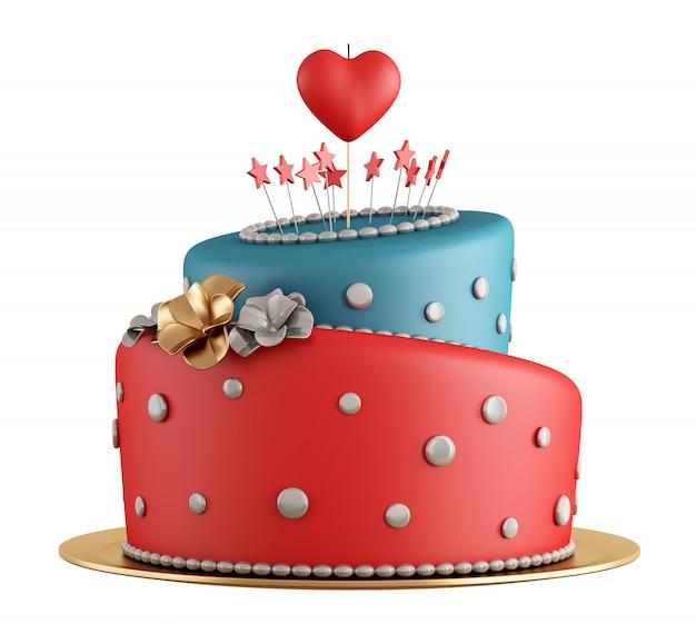 Bolo de aniversário vermelho e azul Foto Premium