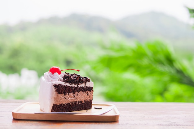 Bolo de chocolate com fundo de natureza montanha suave focada Foto gratuita