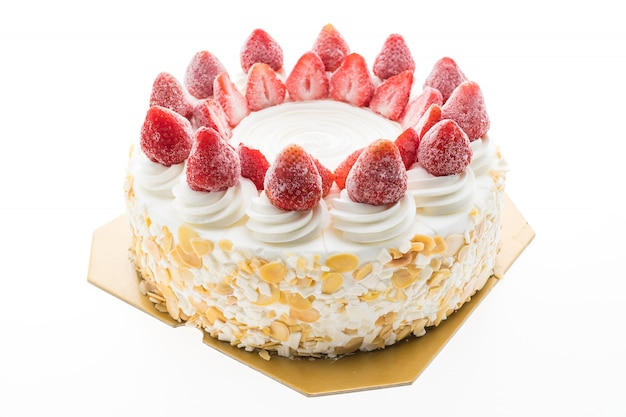 Bolo de sorvete de baunilha com morango no topo Foto gratuita