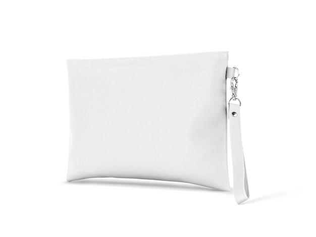 Bolsa de alça de couro branco com suspensão isolada no branco Foto Premium
