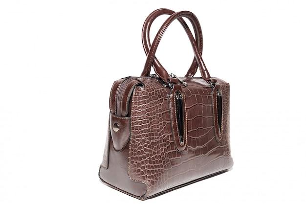 Bolsa de couro das senhoras marrom Foto Premium