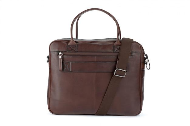 Bolsa de couro moda masculina isolada no fundo branco Foto Premium