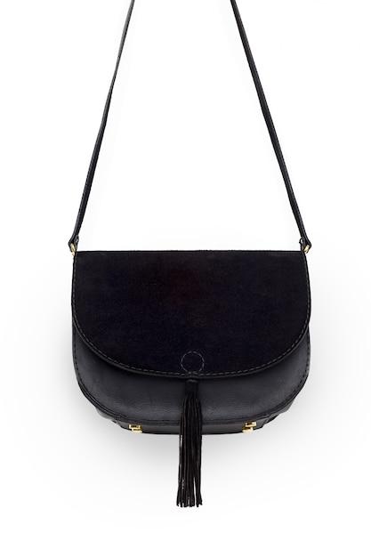 Bolsa feminina de couro isolada no branco Foto Premium