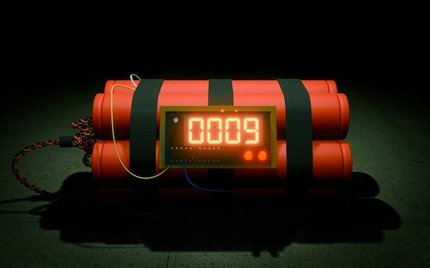Bomba-relógio em fundo escuro Foto Premium