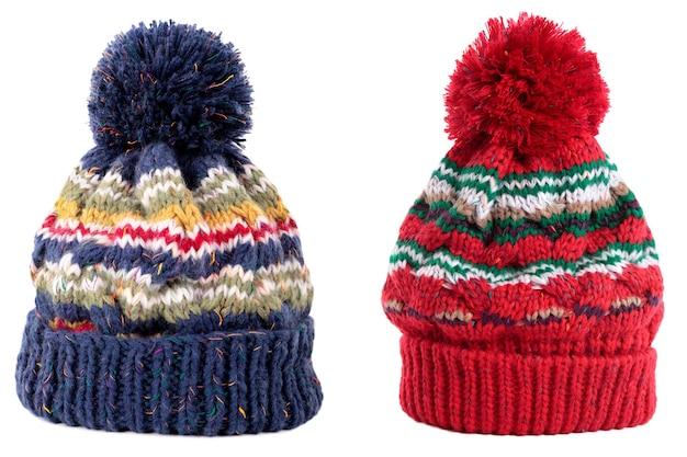 Boné azul vermelho inverno bobble ski Foto Premium