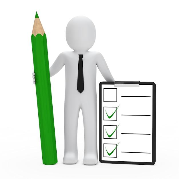 Boneca de pano com uma lista de verificação e lápis verde Foto gratuita