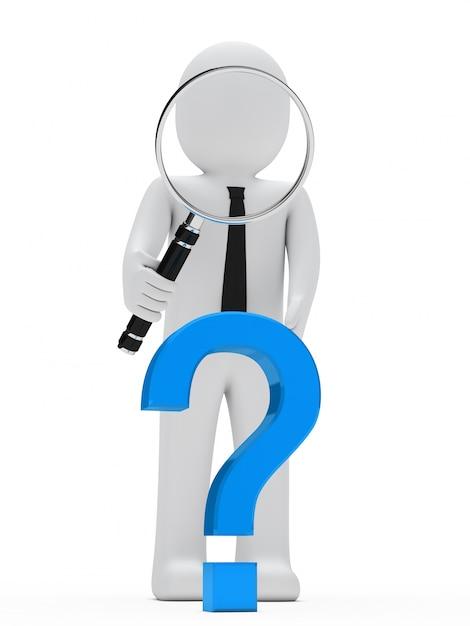 Boneca de pano com uma lupa gigante e um símbolo de interrogação azul Foto gratuita