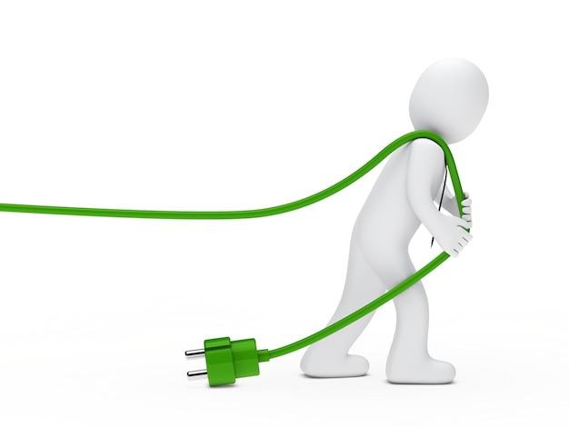 Boneca de pano que puxa um fio verde Foto gratuita