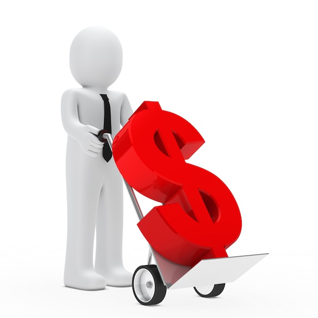 Boneca de pano transportados em um símbolo carrinho de mão do dólar no vermelho Foto gratuita
