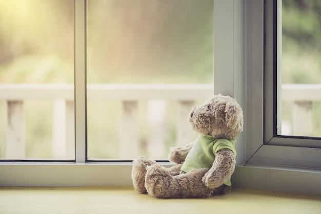 Boneca solitária carrega perto da janela Foto Premium