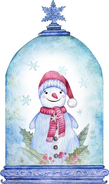 Boneco de neve em aquarela no globo de neve de natal azul. símbolo de ano novo. cartão de natal. Foto Premium