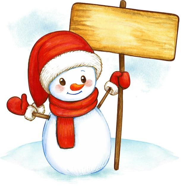 Boneco de neve em aquarela segurando uma placa de madeira Foto Premium