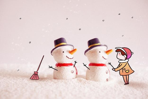 Boneco de neve: fotografia criativa ilustração misturada Foto Premium