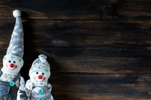 Boneco de neve, papai noel. fundo de natal. ano novo. composição de natal. Foto Premium