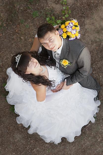 Bonito, jovem, noiva noivo, olhar Foto Premium