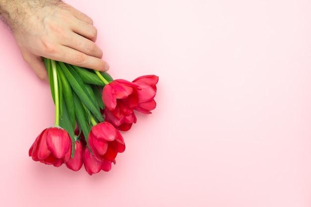 Bonito mans mão segura buquê de tulipas vermelhas em fundo rosa. vista plana leiga, superior, cópia espaço. presente para o dia das mulheres, dia das mães, conceito de primavera. decoração de flores Foto Premium
