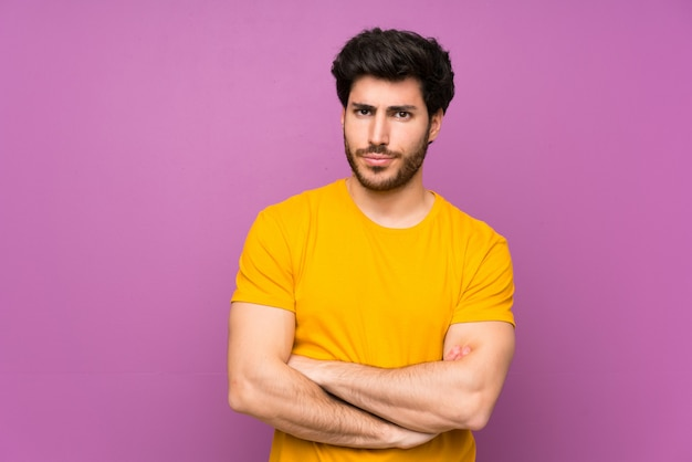 Bonito, sobre, isolado, roxo, parede, sentimento, aborrecido Foto Premium