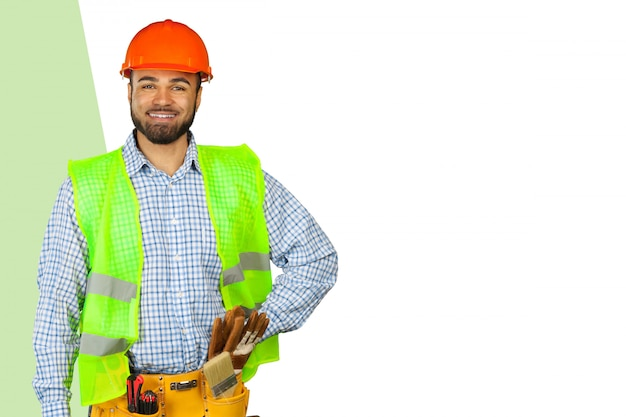 Bonito trabalhador feliz Foto Premium