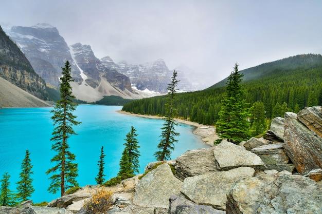 Bonito, turquesa, águas, de, moraine, lago, em, parque nacional banff, alberta, canadá Foto Premium