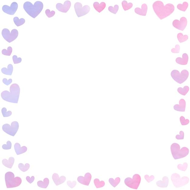 Borda da moldura do cartão com desenho à mão padrão de amor Foto Premium