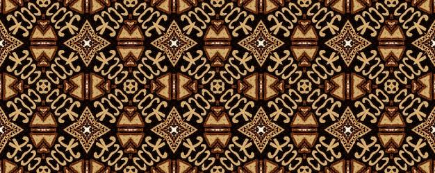 Bordado geométrico. brown hipster vintage seamless pattern. Foto Premium