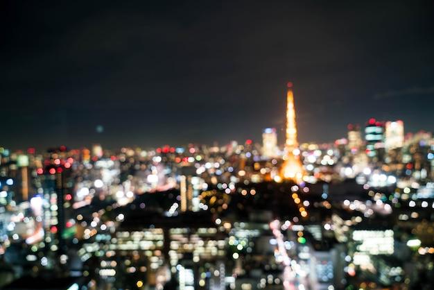 Borrão do horizonte da cidade de tóquio à noite Foto Premium