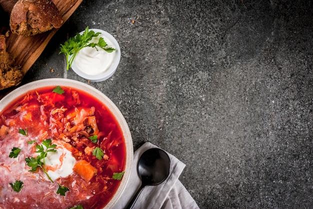 Borscht de sopa de legumes outono Foto Premium