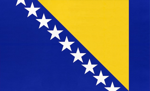 Bósnia e herzegovina tecido nacional bandeira têxtil fundo, Foto Premium