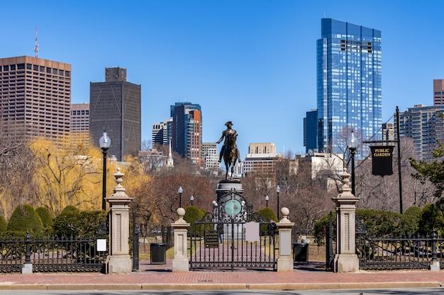Boston, george washington, estátua Foto Premium