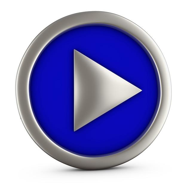 Botão azul do jogo no fundo branco. renderização 3d. Foto Premium