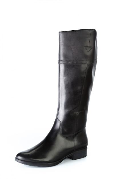 Botas de couro de joelho alto mulher isoladas no branco Foto Premium