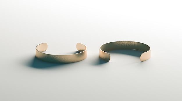 Bracelete de ouro em branco pulseira vista frontal e traseira, isolada Foto Premium