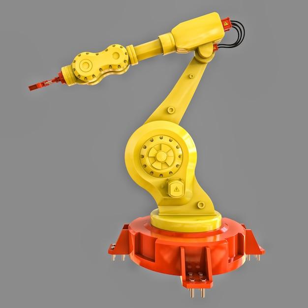 Braço robótico amarelo para qualquer trabalho em uma fábrica ou produção. equipamento mecatrônico para tarefas complexas Foto Premium