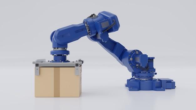 Braço robótico com caixa de papelão isolado Foto Premium