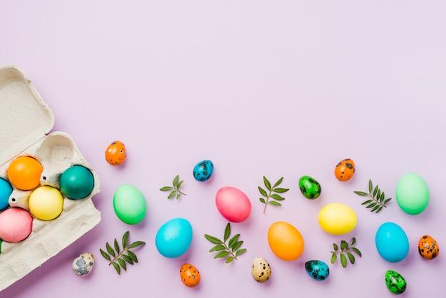 Brilhante coleção de linha de ovos coloridos perto de recipiente e folhas Foto gratuita