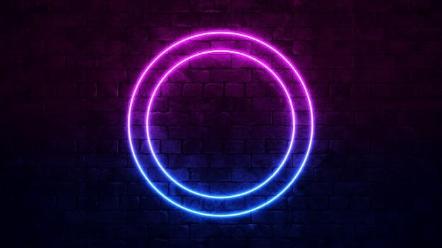 Brilhante sinal de néon circular. quadro de néon roxo e azul. Foto Premium