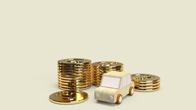Brinquedo de madeira do carro e moedas de ouro para carro Foto Premium