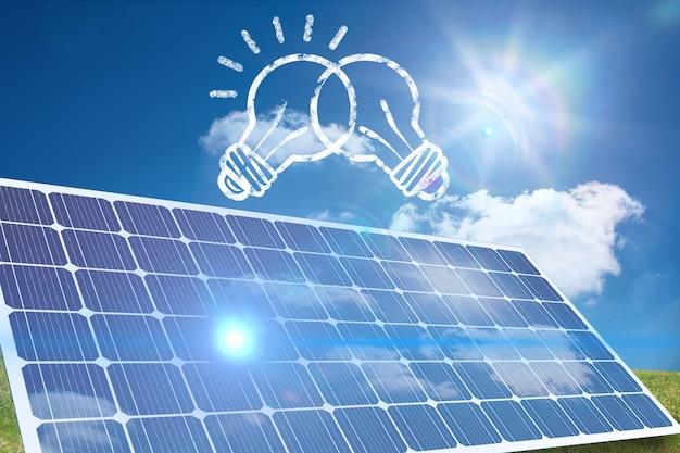 Bubls desenhados e um painel solar Foto gratuita