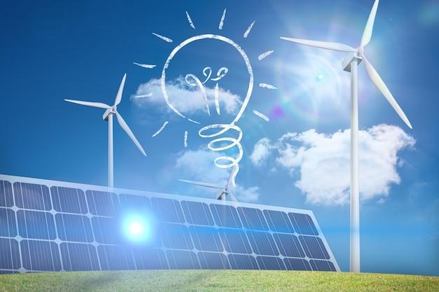 Bulbo, painel solar e eólica fã Foto gratuita