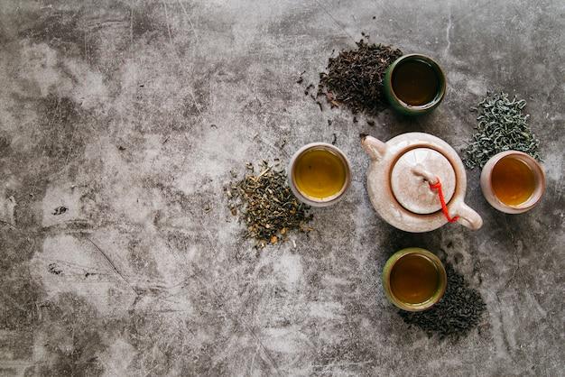 Bule de cerâmica rodeado com ervas secas e xícaras de chá em pano de fundo concreto Foto gratuita
