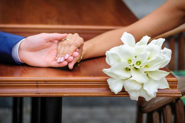 Buquê de casamento de calla branco Foto Premium