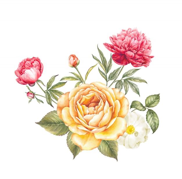 Buquê de flores rosa e peônia. Foto Premium