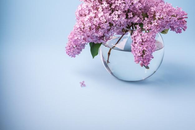 Buquê de florescência lilás em vaso transparente de esfera sobre fundo azul com pequena flor Foto Premium