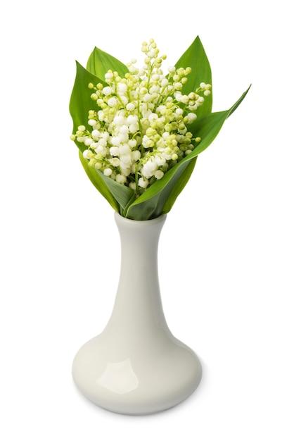 Buquê de lírios do vale no vaso no fundo branco Foto Premium