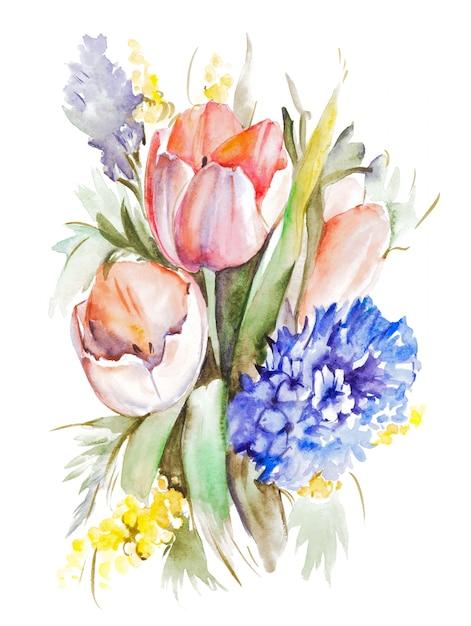 Buquê de tulipas em aquarela Foto Premium