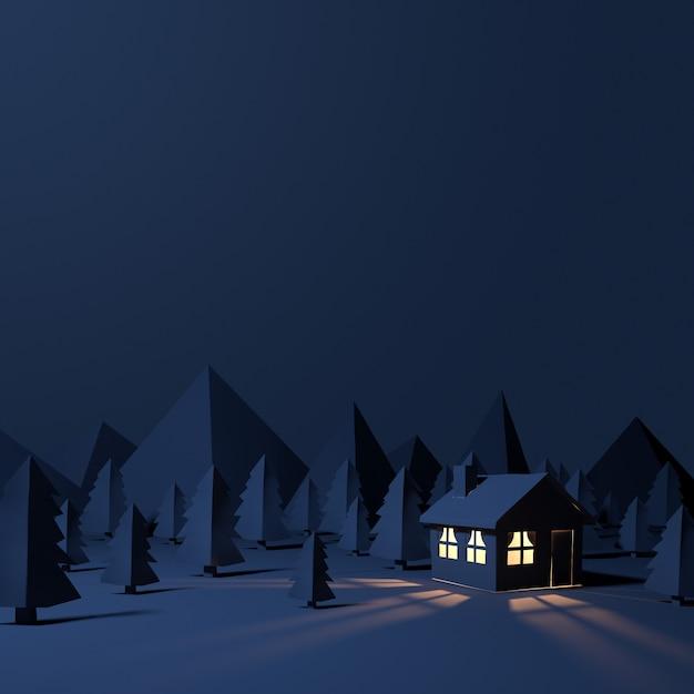 Cabana à noite com floresta de papel. Foto Premium