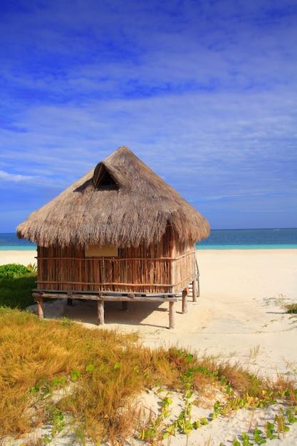 Cabana, palapa, cabana, mar do caribe, praia, méxico Foto Premium