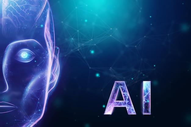 Cabeça de robô de holograma azul, inteligência artificial em fundo azul Foto Premium